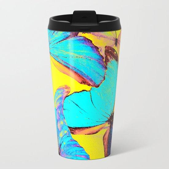 Shiny and colorful butterflies Metal Travel Mug