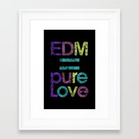edm Framed Art Prints featuring EDM = Pure Love by DropBass