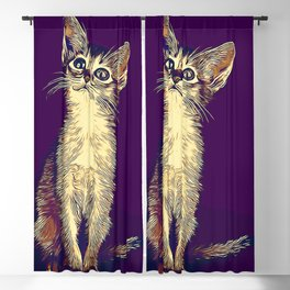 abyssinian cat kitten vector art foggy night Blackout Curtain