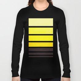 Yellow Minimalist Watercolor Mid Century Staggered Stripes Rothko Color Block Geometric Art Long Sleeve T-shirt