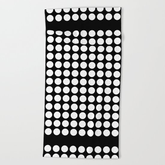 Black and white polka dot pattern . Beach Towel