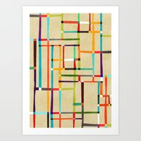 mondrian Art Prints featuring The map (after Mondrian) by Picomodi