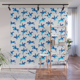Watercolor Showjumping Horses (Blue) Wall Mural