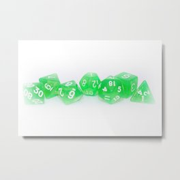 Green Gaming Dice Metal Print