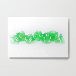 Green Gaming Dice Metal Print