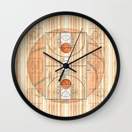 Basketball Court with Basketballs Wall Clock