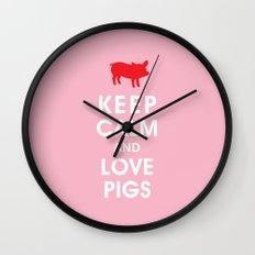 Keep Calm and Love Pigs Wall Clock