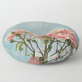 Vintage Inspired Pink Roses in Pastel Blue Sky with French Script Floor Pillow