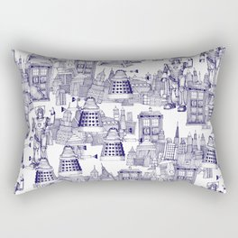 Doctor Who Toile de Jouy | 'Walking Doodle' | Blue Rectangular Pillow