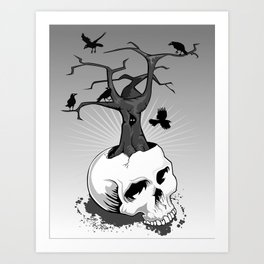 Skull and Tree Art Print