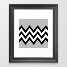 GRAY COLORBLOCK CHEVRON Framed Art Print