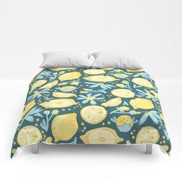 Lemon Pattern Green Comforters