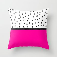 Handdrawn neon pink black watercolor polka dots Throw Pillow