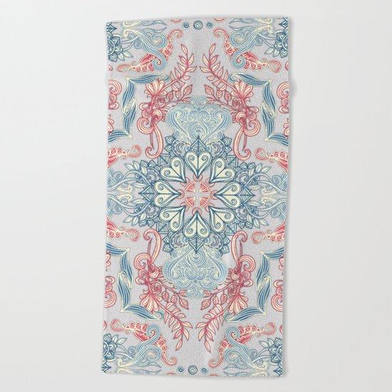 Vintage Fancy - a Pattern in Pale Blue, Navy & Deep Rose Beach Towel