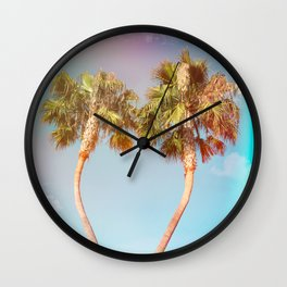 Lovers Palm Trees  {Rainbow Edition} with Light leak Wall Clock