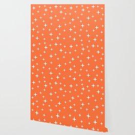 Mid Century Modern Star Pattern 443 Orange Wallpaper