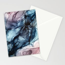 Blush and Darkness Abstract Paintings Stationery Cards