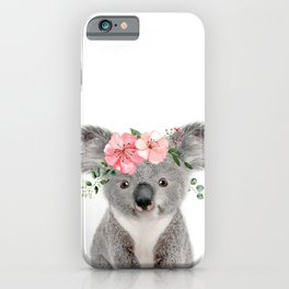 Baby Koala with Flower Crown iPhone Case