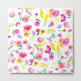 Boho bouquet hand painted watercolor floral Metal Print