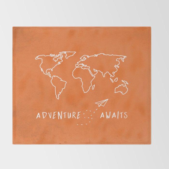 Adventure Map - Retro Orange Throw Blanket