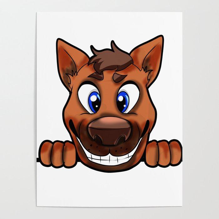 Happy Dog Cute Doggie Puppy Puppie Present Cartoon Poster By Moonpie90 Society6