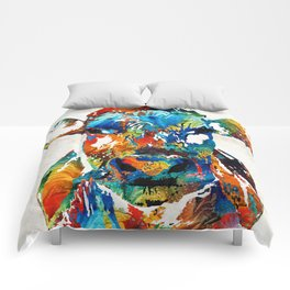 Colorful Cow Art - Mootown - By Sharon Cummings Comforters
