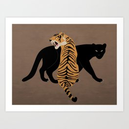 Tiger and panther - dark background Art Print
