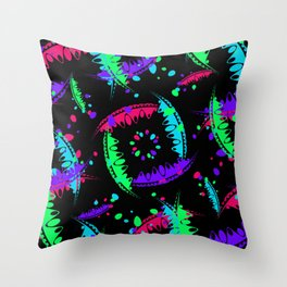 Pattern of bright leaves and petals of garden plants in childrens colors on a black background. Throw Pillow