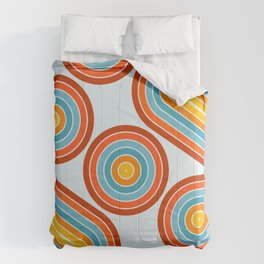 Retro Motion 2 – Orange / Yellow / Blue Abstract Stripe Pattern Comforters
