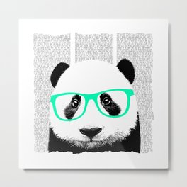 Panda with teal glasses Metal Print