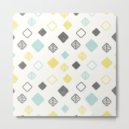 Aqua gray yellow abstract geometrical diamond pattern Metal Print