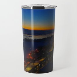 Contrast at Dusk/Clear Sky and Lake Effect (Chicago Sunrise/Sunset Collection) Travel Mug
