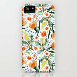 Australian Native Floral Pattern - Grevillea and Pincushion Flowers iPhone Case