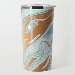 Liquid Green Marble and Gold 006 Travel Mug