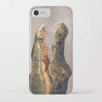 crocodile iPhone & iPod Cases featuring Crocodile by Anna Milousheva