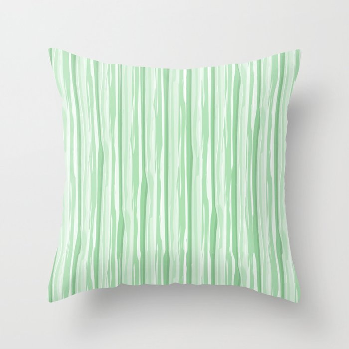 Pastel Mint Green Vertical Grunge Line Pattern Pairs to Coloro 2020 Color of the Year Neo Mint Throw Pillow