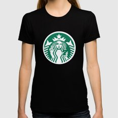 Selfie - 'Starbucks ICONS' Womens Fitted Tee Black SMALL