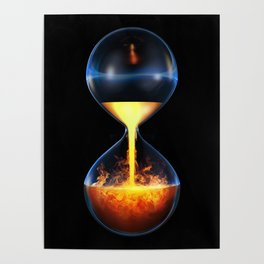 Old flame / 3D render of hourglass flowing liquid fire Poster