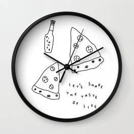 Pizza Illustration Line Art Drawing - Let's Share the Taste of Life Wall Clock