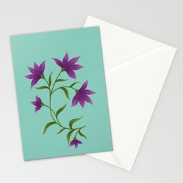 Purple Lilly in Turquoise Pattern  Stationery Cards