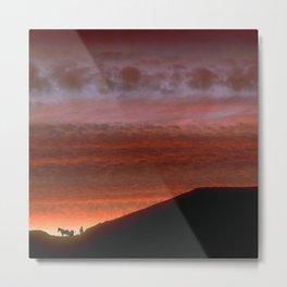 Horses on Edge of Horizon at Sunset Metal Print