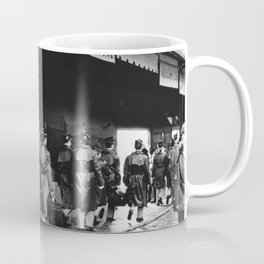 Police officers in training | The beautiful city of Florence | Square Santo Spirito, Florence | Analog photography black and white art print Coffee Mug