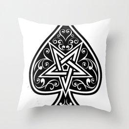 Ace of Spades Pentagram Star, Fun Gift Idea Design Throw Pillow