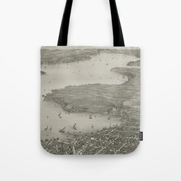 Vintage Pictorial Map of Lake Geneva WI (1882) Tote Bag
