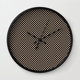 Black and Apricot Illusion Polka Dots Wall Clock