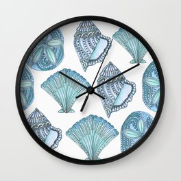 Watercolor Blue Seashells  Wall Clock