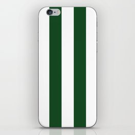 Jumbo Forest Green and White Rustic Vertical Cabana Stripes iPhone Skin