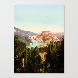 Forest mountains Lake Vintage Scenery Canvas Print