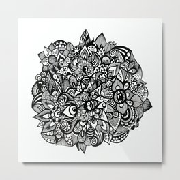 Floral Flowers Black and White Metal Print