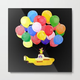 Flying Submarine with Colourful Balloons Black Metal Print
